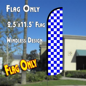 Checkered BLUE/WHITE Windless Polyknit Feather Flag (2.5 x 11.5 feet)
