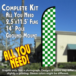 Checkered GREEN/WHITE Windless Feather Banner Flag Kit (Flag, Pole, & Ground Mt)