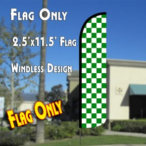 Checkered GREEN/WHITE Windless Polyknit Feather Flag (2.5 x 11.5 feet)