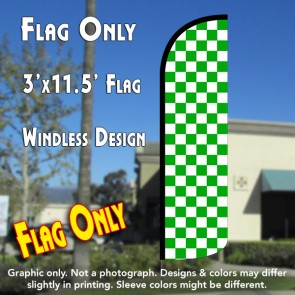 Checkered GREEN/WHITE Windless Polyknit Feather Flag (3 x 11.5 feet)
