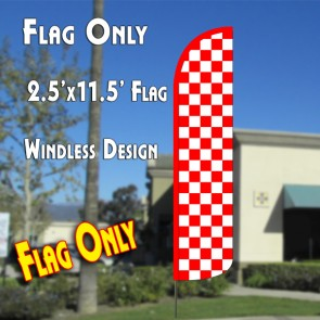 Checkered RED/WHITE Windless Polyknit Feather Flag (2.5 x 11.5 feet)