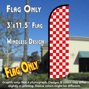 Checkered RED/WHITE Windless Polyknit Feather Flag (3 x 11.5 feet)