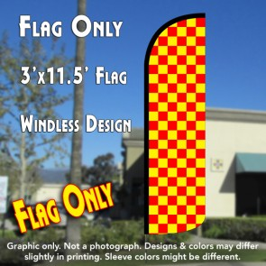 Checkered RED/YELLOW Windless Polyknit Feather Flag (3 x 11.5 feet)