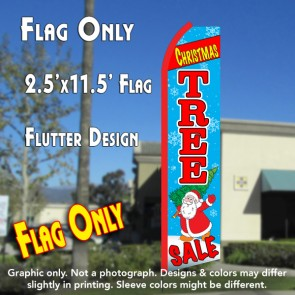 CHRISTMAS TREE SALE (Blue/Red) Flutter Polyknit Feather Flag (11.5 x 2.5 feet)