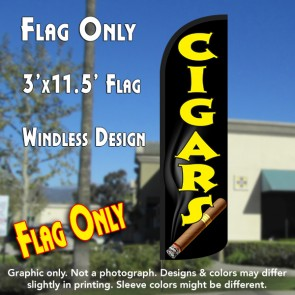 Cigars Windless Polyknit Feather Flag (3 x 11.5 feet)