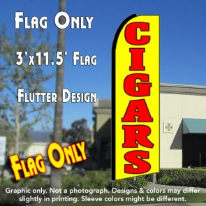 CIGARS (Yellow) Flutter Feather Banner Flag (11.5 x 3 Feet)