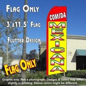 COMIDA MEXICANA (Red/Yellow) Flutter Feather Banner Flag (11.5 x 3 Feet)