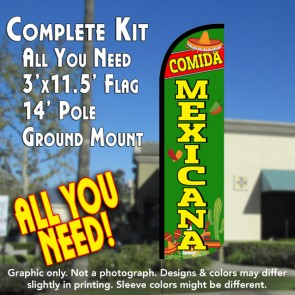 Comida Mexicana Windless Feather Banner Flag Kit (Flag, Pole, & Ground Mt)