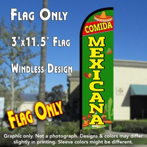 Comida Mexicana Windless Polyknit Feather Flag (3 x 11.5 feet)