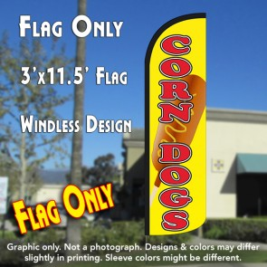Corn Dogs Windless Polyknit Feather Flag (3 x 11.5 feet)
