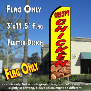 CRISPY CHICKEN (Yellow) Flutter Feather Banner Flag (11.5 x 3 Feet)