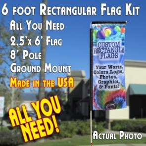 CUSTOM 6' Rectangular Flag (6 x 2.5 Feet) Kit (Flag, 8' Pole, & Ground Mt)