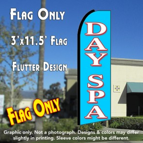DAY SPA (Blue) Flutter Feather Banner Flag (11.5 x 3 Feet)