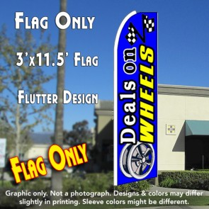 DEALS ON WHEELS (Blue) Flutter Feather Banner Flag (11.5 x 3 Feet)