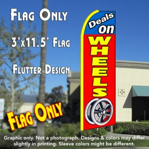 DEALS ON WHEELS (Blue/Red) Flutter Feather Banner Flag (11.5 x 3 Feet)