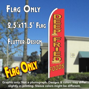 DEEP FRIED FOODS Flutter Feather Banner Flag (11.5 x 2.5 Feet)