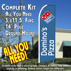 Dominos Pizza  Feather Banner Flag Kit (Flag, Pole, & Ground Mt)