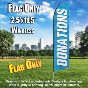 DONATIONS blue white flutter flag
