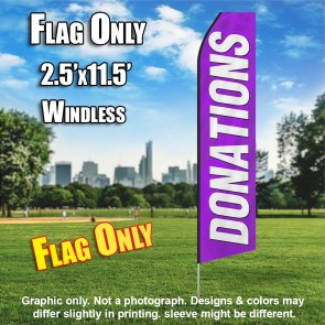 DONATIONS purple white flutter flag