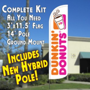 DUNKIN' DONUTS  Feather Banner Flag Kit (Flag, Pole, & Ground Mt)