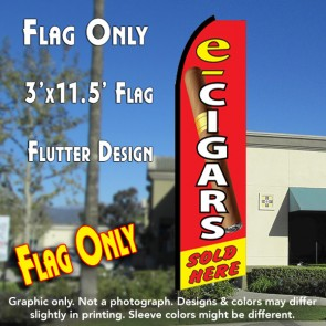 E-CIGARS SOLD HERE Flutter Feather Banner Flag (11.5 x 3 Feet)
