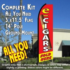 E-CIGARS SOLD HERE Flutter Feather Banner Flag Kit (Flag, Pole, & Ground Mt)