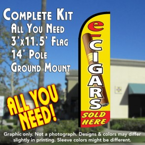 E-Cigars Sold Here Windless Feather Banner Flag Kit (Flag, Pole, & Ground Mt)