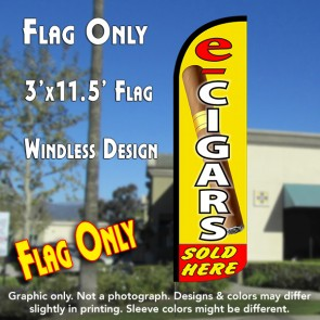 E-Cigars Sold Here Windless Polyknit Feather Flag (3 x 11.5 feet)