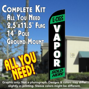 E-CIGS VAPOR (Green) Windless Feather Banner Flag Kit (Flag, Pole, & Ground Mt)