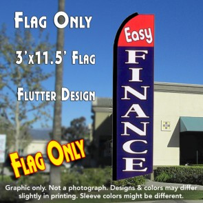EASY FINANCE (Red/Blue) Flutter Feather Banner Flag (11.5 x 3 Feet)