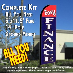 EASY FINANCE (Red/Blue) Flutter Feather Banner Flag Kit (Flag, Pole, & Ground Mt)