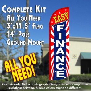 Easy Finance (Starburst) Windless Feather Banner Flag Kit (Flag, Pole, & Ground Mt)