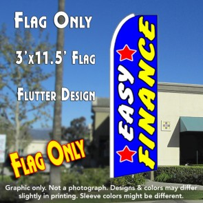 EASY FINANCE (Stars) Flutter Feather Banner Flag (11.5 x 3 Feet)