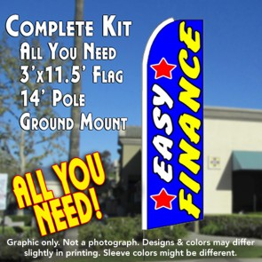 EASY FINANCE (Stars) Flutter Feather Banner Flag Kit (Flag, Pole, & Ground Mt)