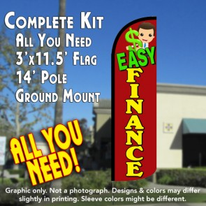 Easy Finance Windless Feather Banner Flag Kit (Flag, Pole, & Ground Mt)
