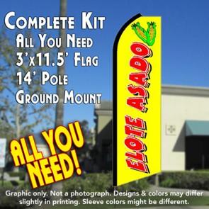 ELOTE ASADO Flutter Feather Banner Flag Kit (Flag, Pole, & Ground Mt)