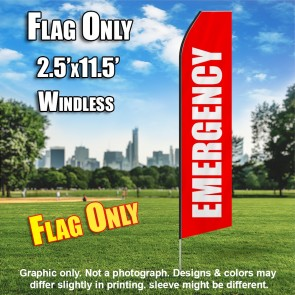 Emergency (Red/White) Econo Feather Banner Flag