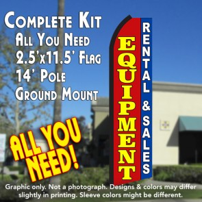 EQUIPMENT RENTAL & SALES (Red/Blue) Flutter Feather Banner Flag Kit (Flag, Pole, & Ground Mt)