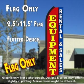 EQUIPMENT RENTAL & SALES (Red/Blue) Flutter Polyknit Feather Flag (11.5 x 2.5 feet)