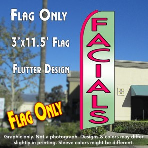 FACIALS (Green) Flutter Feather Banner Flag (11.5 x 3 Feet)