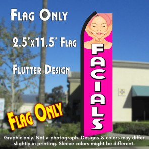 FACIALS (Pink/White) Flutter Polyknit Feather Flag (11.5 x 2.5 feet)