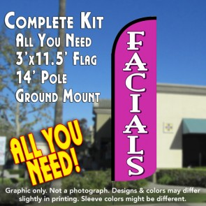 Facials Windless Feather Banner Flag Kit (Flag, Pole, & Ground Mt)