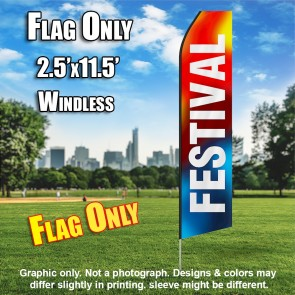 FESTIVAL red blue white flutter flag