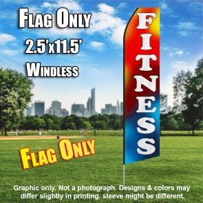 FITNESS red blue yellow white flutter flag