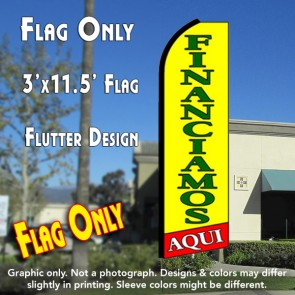 FINANCIAMOS AQUI (Yellow/Red) Flutter Feather Banner Flag (11.5 x 3 Feet)