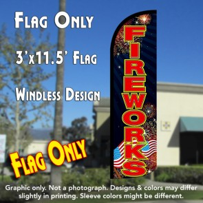 Fireworks (Black/Red) Windless Polyknit Feather Flag (3 x 11.5 feet)
