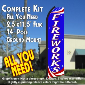 FIREWORKS (Patriotic) Flutter Feather Banner Flag Kit (Flag, Pole, & Ground Mt)