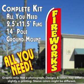 FIREWORKS (Red) Flutter Feather Banner Flag Kit (Flag, Pole, & Ground Mt)