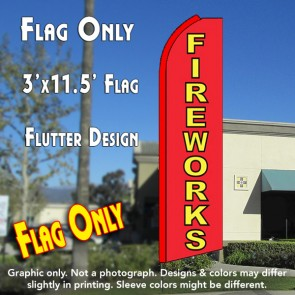 FIREWORKS (Red/Yellow) Flutter Feather Banner Flag (11.5 x 3 Feet)