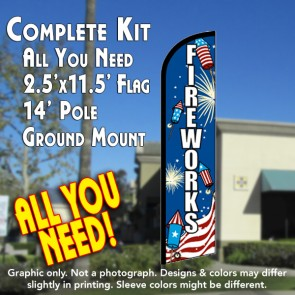 Fireworks (Rockets) Windless Feather Banner Flag Kit (Flag, Pole, & Ground Mt)